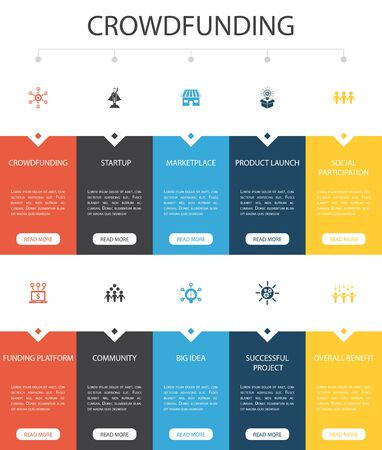 Crowdfunding Infographic 10 option UI design.startup, product launch, funding platform, community simple icons 向量圖像