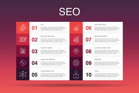 SEO Infographic 10 option template. Search engine, Target keywords, Web analytics, SEO monitoring simple icons 向量圖像