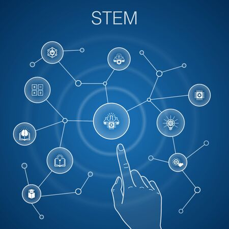 STEM concept, blue background.science, technology, engineering, mathematics icons Illustration