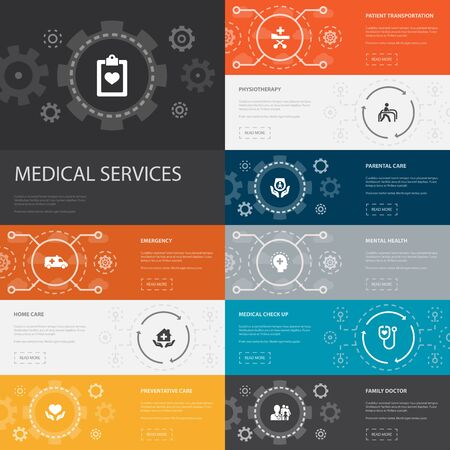 Medical services Infographic 10 line icons banners.Emergency, Preventive care, patient Transportation, Prenatal care simple icons