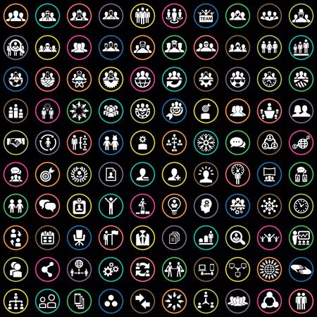 teamwork 100 icons universal set for web and mobile.  イラスト・ベクター素材