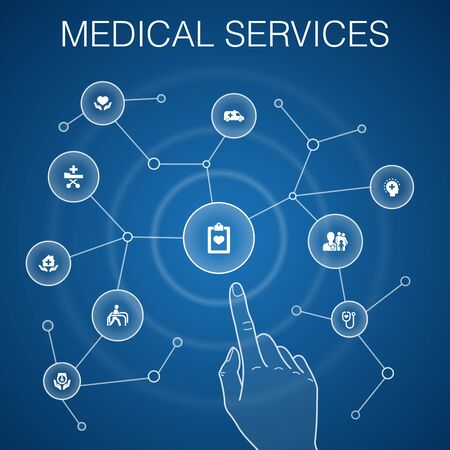 Medical services concept, blue background with simple icons Çizim