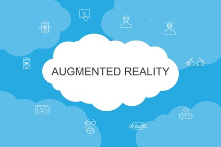 Augmented reality Infographic cloud design template.Facial Recognition, AR app, AR game, Virtual Reality simple icons 向量圖像