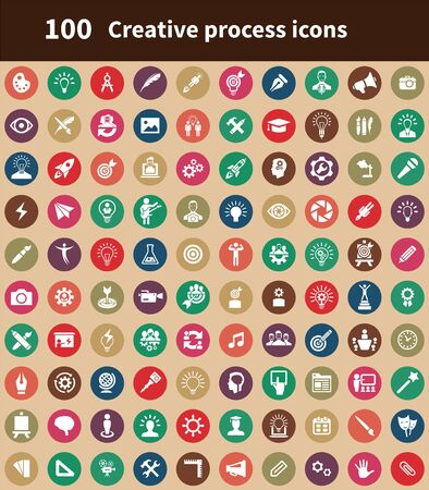 creative process 100 icons universal set for web and mobile.