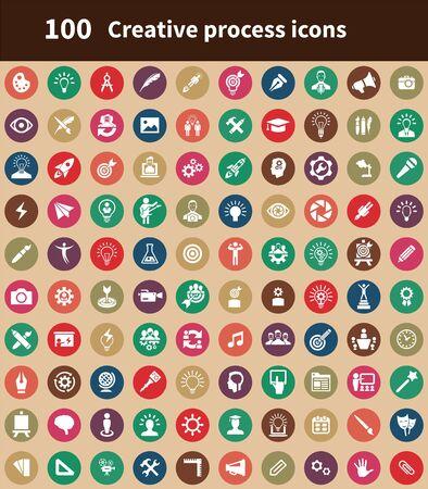 processus créatif 100 icônes universelles définies pour le web et le mobile.