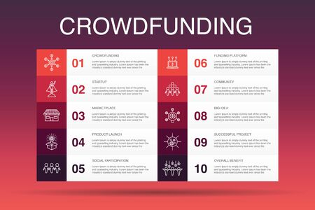 Crowdfunding Infographic 10 option template. startup, product launch, funding platform, community simple icons