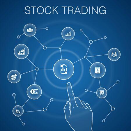 stock trading concept, blue background.bull market, bear market, annual report, target icons Vektoros illusztráció