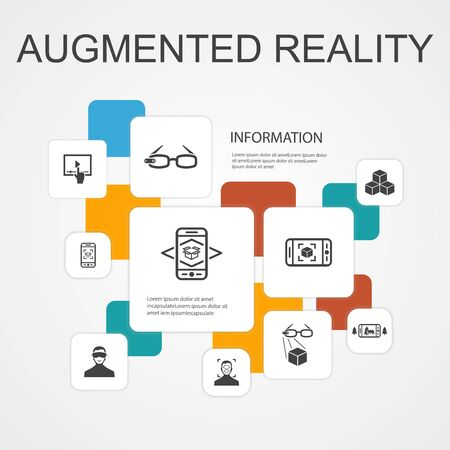 Augmented reality Infographic 10 line icons template.Facial Recognition, AR app, AR game, Virtual Reality simple icons 向量圖像