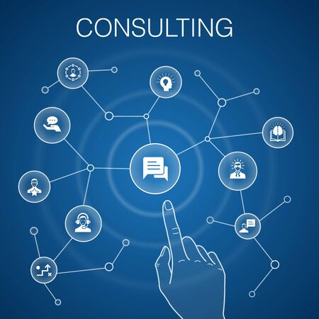 Consulting concept blue background. Expert, knowledge, experience, consultant simple icons
