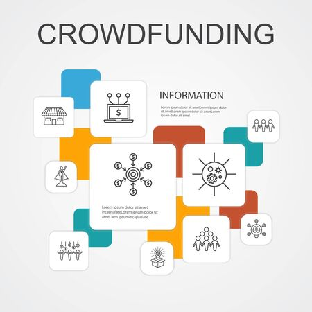 Crowdfunding Infographic 10 line icons template.startup, product launch, funding platform, community simple icons 向量圖像