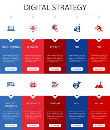 digital strategy Infographic 10 option UI design.internet, SEO, content marketing, mission simple icons