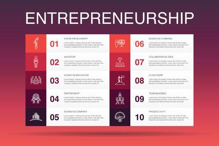 Entrepreneurship Infographic 10 option template. Investor, Partnership, Leadership, Team building simple icons Vectores