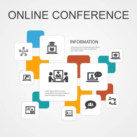 online conference Infographic 10 line icons template.group chat, online learning, webinar, conference call simple icons