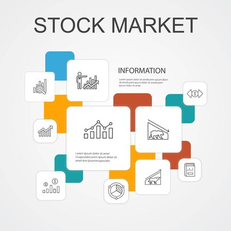 Stock market Infographic 10 line icons template.Broker, finance, graph, market share simple icons Ilustracja