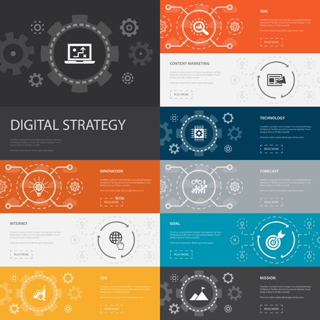 digital strategy Infographic 10 line icons banners. internet, SEO, content marketing, mission simple icons 일러스트
