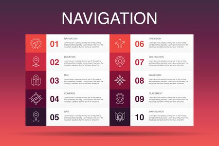 Navigation Infographic 10 option template. location, map, gps, direction simple icons