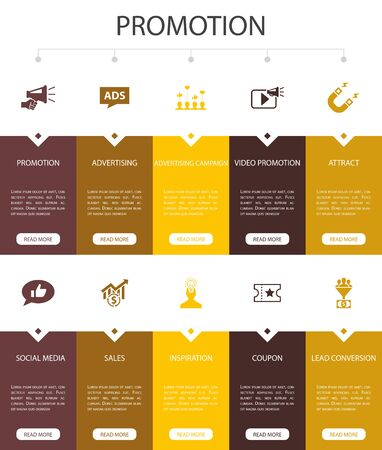 Promotion Infographic 10 option UI design. advertising, sales, lead conversion, attract simple icons