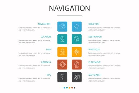 Navigation Infographic 10 option concept. location, map, gps, direction simple icons