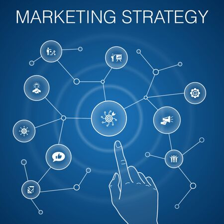 marketing strategy concept, blue background with simple icons