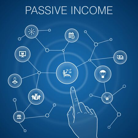 passive income concept, blue background.affiliate marketing, dividend income, online store, rental property icons