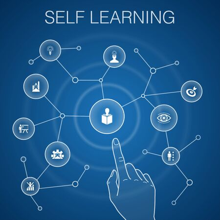 Self learning concept, blue background.personal growth, inspiration, creativity, development icons