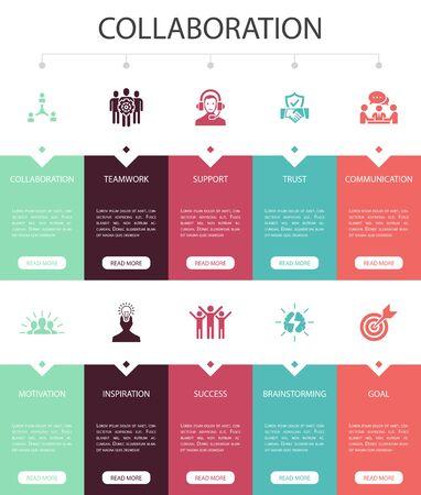 collaboration Infographic 10 option UI design.teamwork, support, communication, motivation simple icons