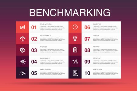 benchmarking Infographic 10 option template.process, management, indicator simple icons