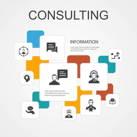 Consulting Infographic 10 line icons template. Expert, knowledge, experience, consultantsimple icons