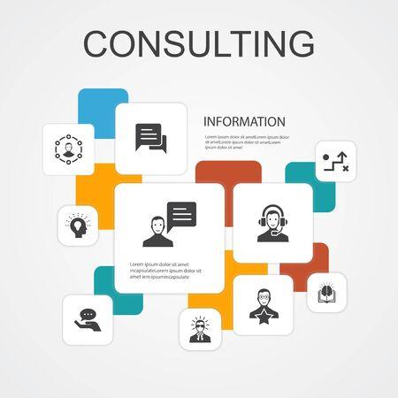 Consultoría de plantilla de iconos de línea de infografía 10. Expertos, conocimientos, experiencia, consultores, iconos simples