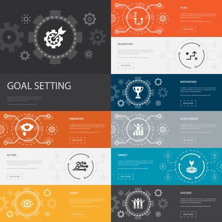 goal setting Infographic 10 line icons banners. dream big, action, vision, strategy simple icons