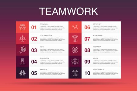 Teamwork Infographic 10 option template. collaboration, goal, strategy, performance simple icons