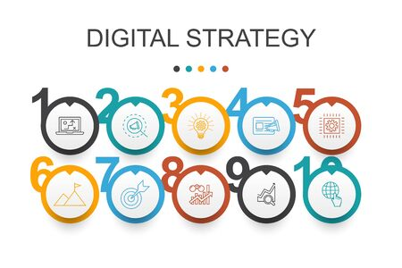 digital strategy Infographic design template. internet, SEO, content marketing, mission simple icons