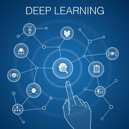 Deep learning concept, blue background. algorithm, neural network, AI, Machine learningsimple icons