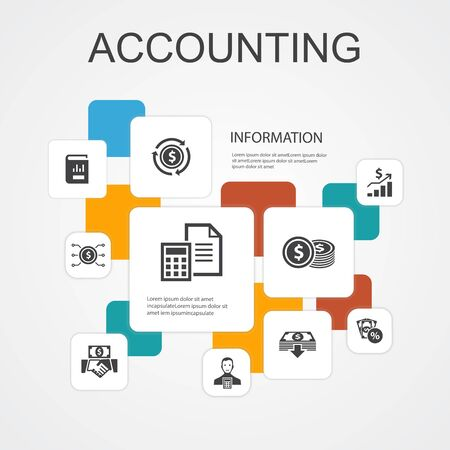 Accounting Infographic 10 line icons template.Asset, Annual report, Net Income, Accountant simple icons Çizim