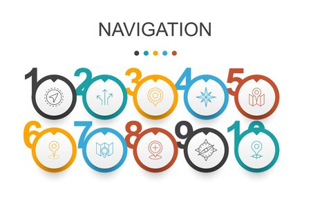 Navigation Infographic design template.location, map, gps, direction simple icons Illusztráció