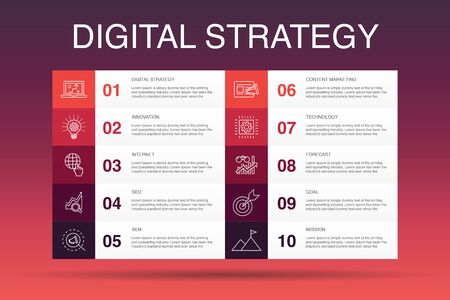 digital strategy Infographic 10 option template. internet, SEO, content marketing, mission simple icons 일러스트