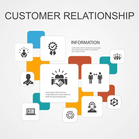 customer relationship Infographic 10 line icons template.communication, service, CRM, customer care simple icons