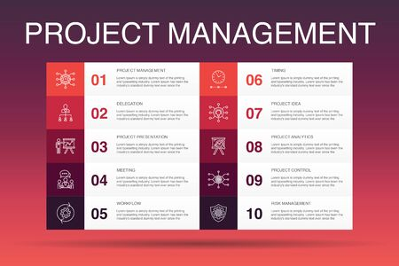 Project management Infographic 10 option template. Project presentation, Meeting, workflow, Risk management simple icons