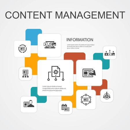 Content Management Infographic 10 line icons template. CMS, content marketing, outsourcing, digital content simple icons Ilustração