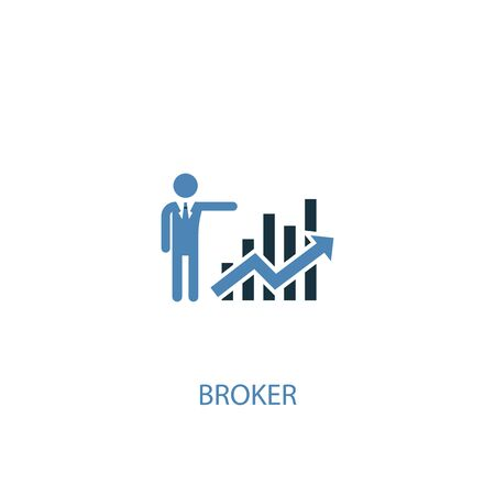 Broker concept 2 colored icon. Simple blue element illustration. Broker concept symbol design. Can be used for web and mobile Ilustração