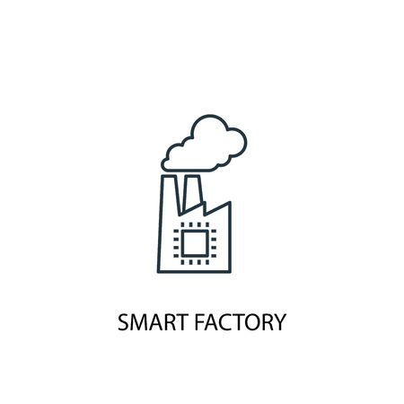 smart factory concept line icon. Simple element illustration. smart factory concept outline symbol design. Can be used for web and mobile 向量圖像