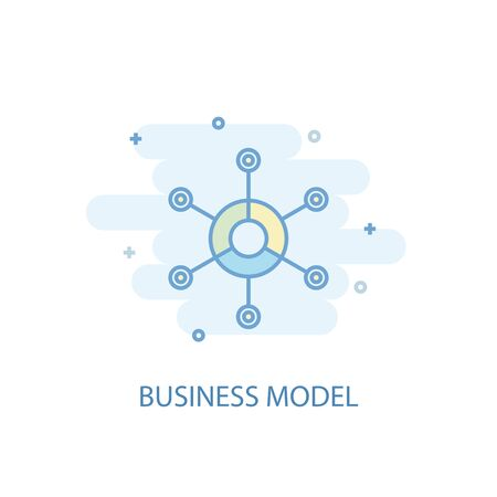 business model line concept. Simple line icon, colored illustration. business model symbol flat design