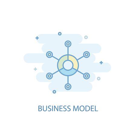 business model line concept. Simple line icon, colored illustration. business model symbol flat design