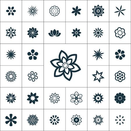 flowers icons universal set for web and UI