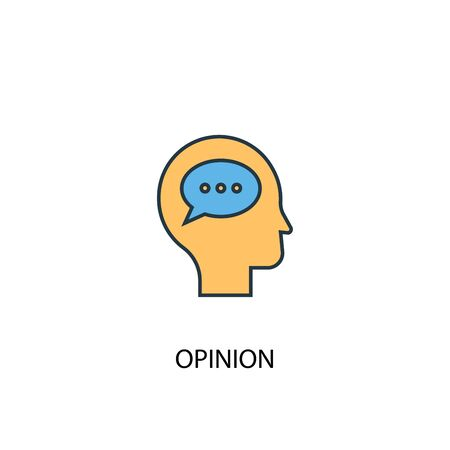 opinion concept 2 colored line icon. Simple yellow and blue element illustration. opinion concept outline design