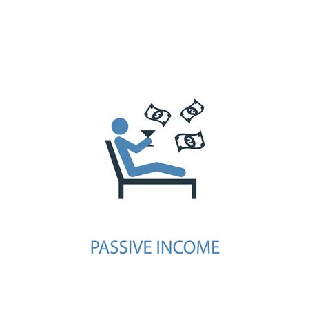 passive income concept 2 colored icon. Simple blue element illustration. passive income concept symbol design. Can be used for web and mobile Stock Illustratie
