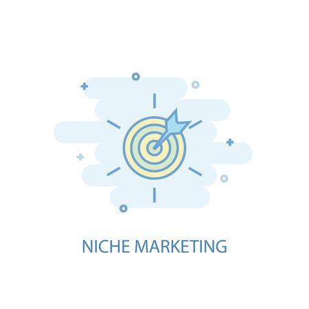 Concepto de línea de marketing de nicho. Icono de línea simple, ilustración en color. Diseño plano del símbolo de marketing de nicho