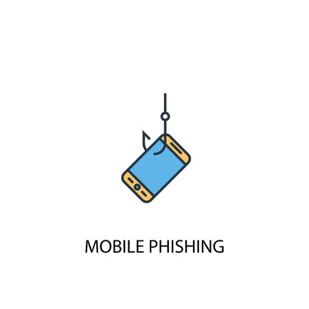 mobile phishing concept 2 colored line icon. Simple yellow and blue element illustration. mobile phishing concept outline symbol Stock Illustratie