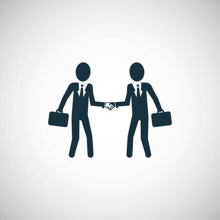 businessmen shaking hands icon simple flat element design concept