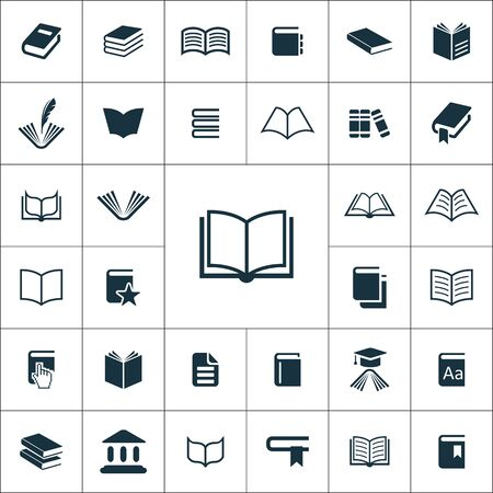 books icons universal set